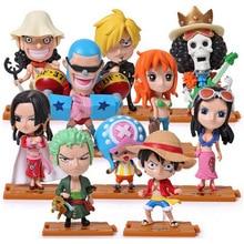 10pcs/lot Japanese Anime Q Version One Piece Roronoa Zoro Luffy Chopper Nami Sanji Usopp Nico Robin Franky PVC Action Figure toy стоимость
