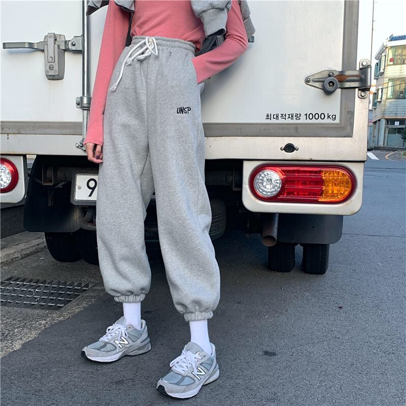 EACHIN Women Sport Drawstring Jogging Pants Winter Warm Loose Sportwear Trousers Female Fashion Casual Streetwear Cargo Pants