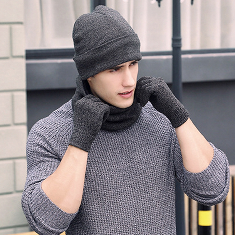 New Winter Warm Beanie Hat + Scarf + Touch Screen Gloves, Unisex Thermal Winter Warm Knitted Beanie Hat Neck Glove For Men Women