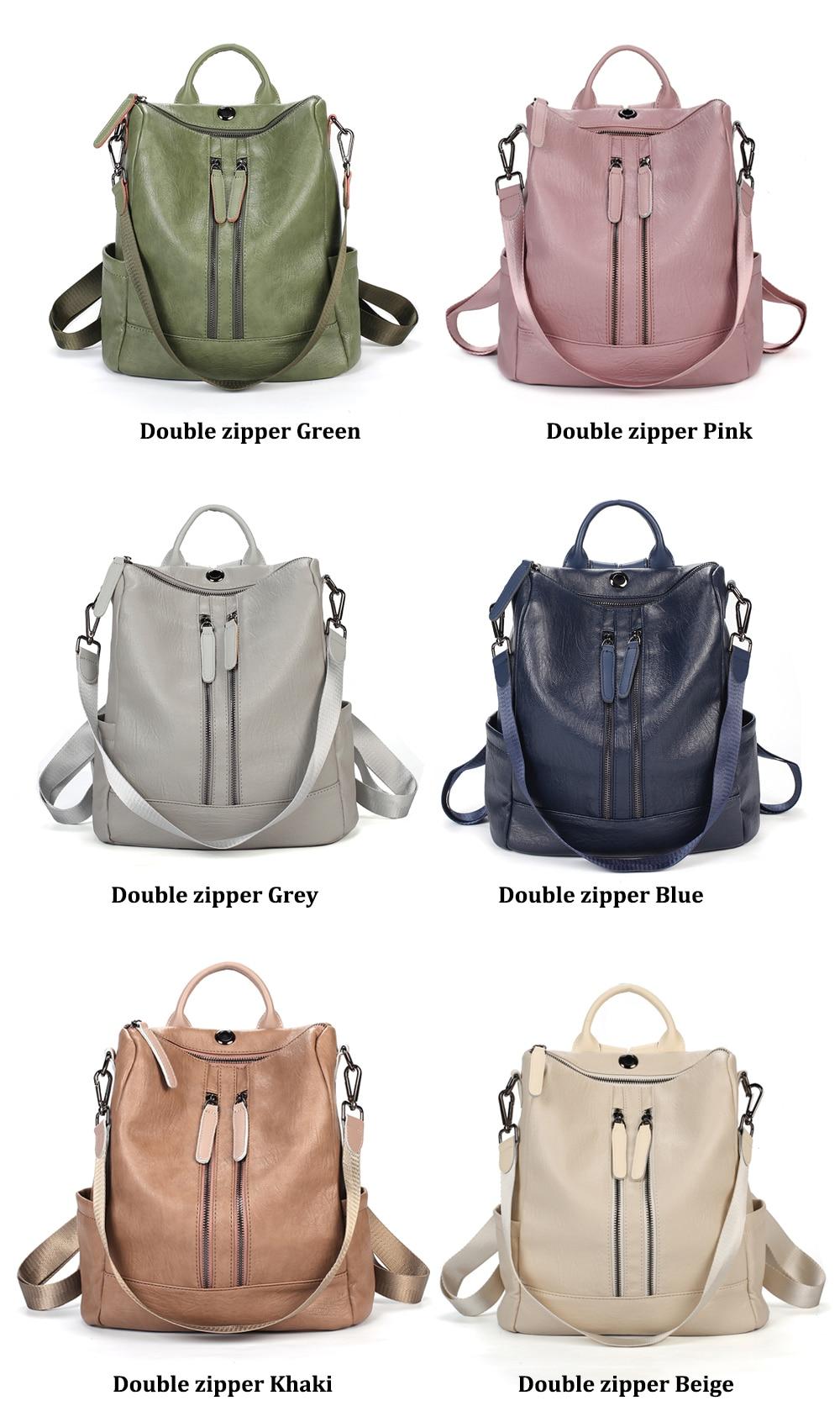 Hea7e219a034d45e8a7e5efe199983adf3 Female backpack mochila feminina casual Multifunction Women Leather Backpack Female Shoulder Bag Sac A Dos Travel Back Pack