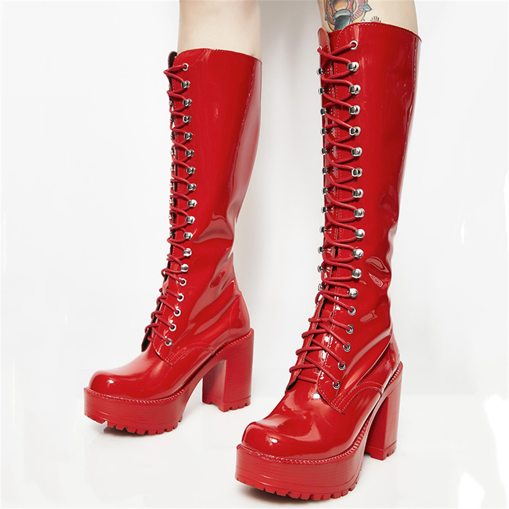 BONJOMARISA New 35 43 Western Punk Patent PU High Heels mid calf Boots Women 2019 Fashion Metal Decoration Platform Shoes Woman in Mid Calf Boots from Shoes