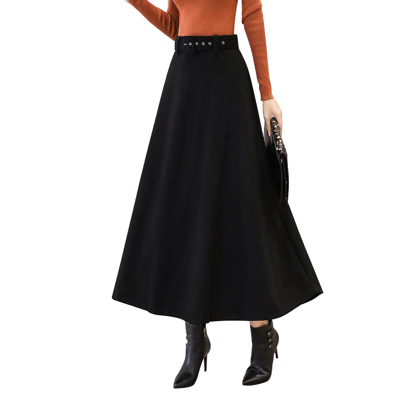 NORMOV 2019 Fashion Winter Women's Wool Maxi Skirts With Belt Vintage Woolen Skirt Female Streetwear Casual Long Solid Skirt