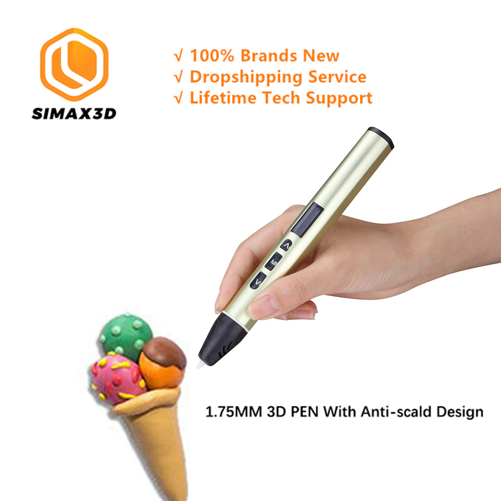 SIMAX3Dd Printing Pen Intelligence Creative Toy Graffiti Stereo Low Temperature 3D Children's Brush Design Pen-in 3D Printer Parts & Accessories from Computer & Office