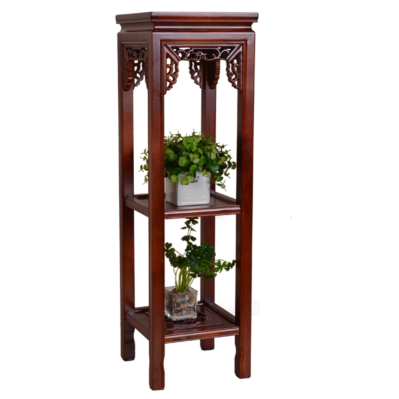 Wood Rack A Living Room Balcony Chinese Style Solid Wood Flower Rack Multi-storey Indoor Elm Wood Green Luo Chlorophytum Frame