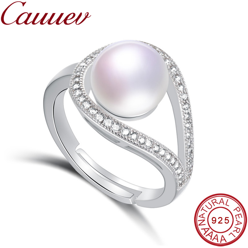 Cauuev 2018Wedding Rings For Women AAAA High Quality 100% Natural Pearl Rings Engagement Jewelry For Women Accessories Fine Gift