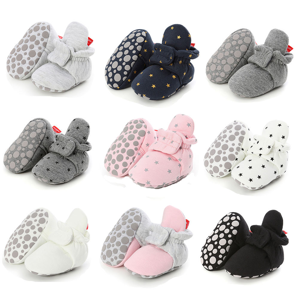 Newborn Boy Girl Baby Ankle Socks Shoes Cute Star Toddler Prewalker Booties Cotton Winter Soft Anti-slip Warm Infant Crib Shoes