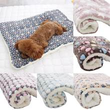 Pet Star Paws Bed Mat Soft Fleece Blanket Warm Sleeping Cushion Living Room Mattress pet Sleeping Cover Towel cushion for pets(China)