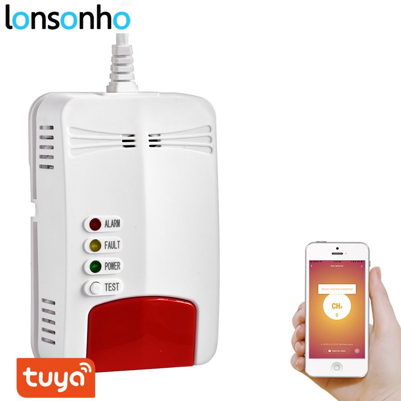 Lonsonho Wifi Gas Sensor Gas Leak Detector Alarm Tuya Smart Life App Smart Home Security