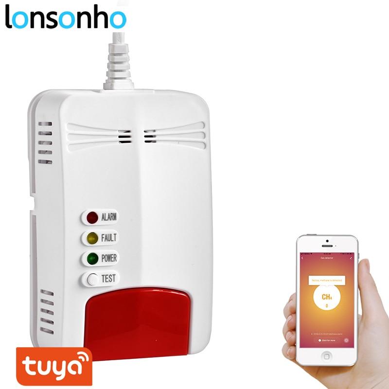 lonsonho tuya inteligente wi fi sensor de gas detector vazamento alarme vida inteligente aplicativo casa inteligente
