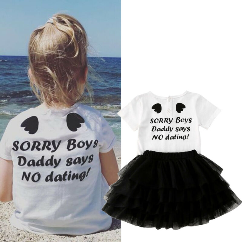 2PCS Toddler Kids Baby Girl Summer Clothes Cotton Tops T-Shirt+Lace Tulle Tutu Skirt Outfits Set