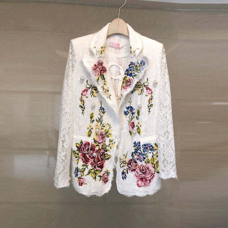 HAMALIEL Luxruy Women Lace White Blazer Coat 2019 Summer Embroidery Floral Pearl Double-Breasted Long Sleeve Pocket Blazers Coat