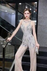 Image 4 - Combinaison de luxe pour femmes, perles lourdes scintillantes, sexy, pantalons formels, tenue de soirée