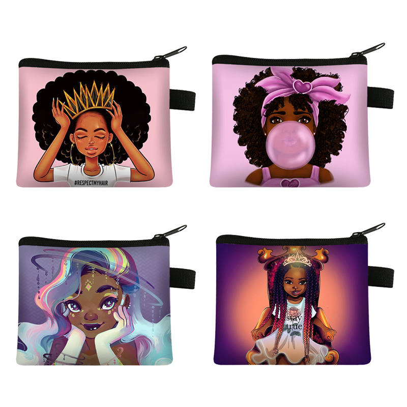 Cute Afro Girl Print  Coin Purse Africa Women Fashion Mini wallet Ladies Lipstick Bag Female Keys Credit Card For Coin Holder