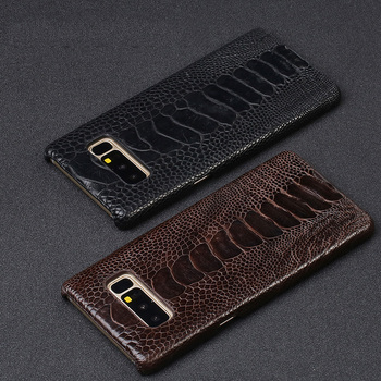 high quality Ostrich foot pattern Back cover Leather case for Samsung Galaxy 8 S8plus S9 S9plus Note 10 note 8 Genuine leather