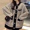 [EWQ] Autumn 2020 New Sweater Coat Retro Shirt Check Long Sleeve Single Breasted Plaid Loose Knit Cardigan Tide Ladies QB321 1