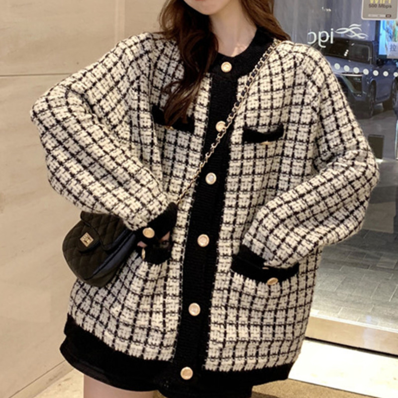 [EWQ] Autumn 2020 New Sweater Coat Retro Shirt Check Long Sleeve Single Breasted Plaid Loose Knit Cardigan Tide Ladies QB321
