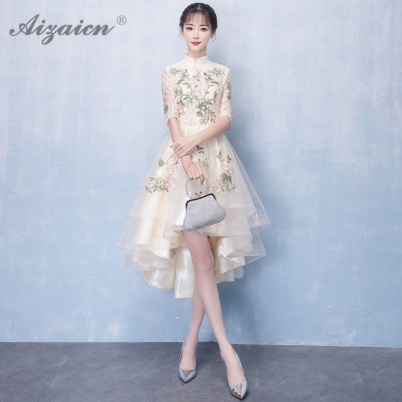 Modern New Irrgular Lace Cheongsam China Champagne Color Elegant Long Qi Pao Women Chinese Traditional Clothing Robe Orientale