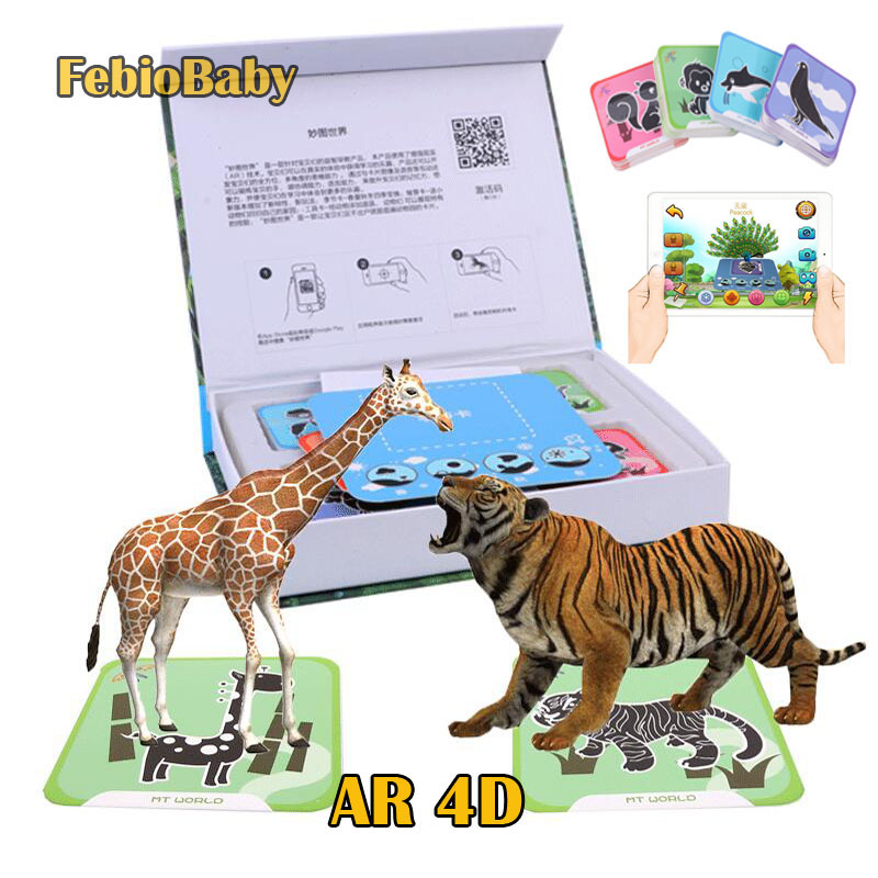 For Phone Scan Children Educational AR Toy 4D Vivid Animal Learning Card Interaction Virtual Reality Games With Multi Language