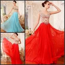 Женское шифоновое платье с открытой спиной Красное длинное вечернее
