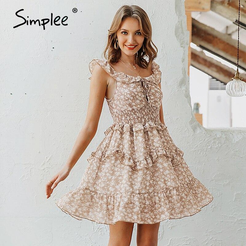 Simplee Sexy v-neck women dress Boho floral print high waist summer dress Ladies sleeveless ruffled sundress beach dress 2020
