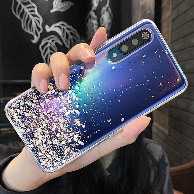 Miękki przezroczysty Glitter Star Case Redmi 9A 9C NFC 9AT 8A 8 7A 6A uwaga 9S 8T 8 7 6 Pro 9 Pro Max pokrywa dla Xiaomi Mi A3 9 Lite 10 9T