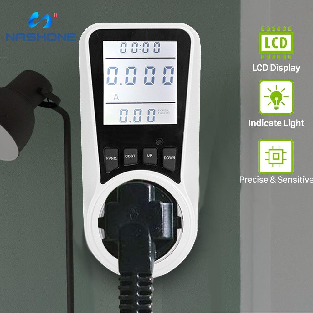 Цифровой ваттметр Nashone, измеритель мощности переменного тока 220 В, ЖК-дисплей, измеритель мощности, разъем ЕС, мощность киловатта, мощность, н...