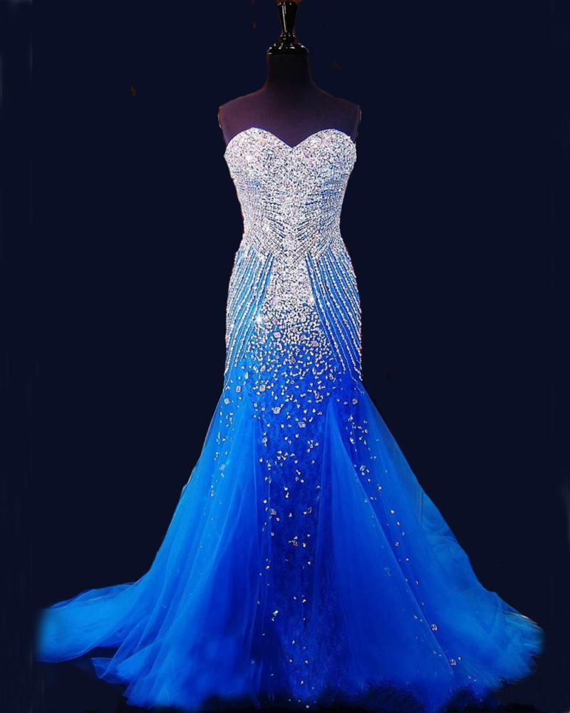2019 Royal Blue Mermaid Long   Prom     Dresses   Pageant Women Sexy Sweetheart Vestido Luxury Beaded Crystal Tulle Pageant Evening Gown