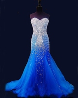 2020 Blue Mermaid Long Prom Dresses Pageant Women Sexy Sweetheart Vestido Luxury Beaded Crystal Tulle Pageant Evening Gown