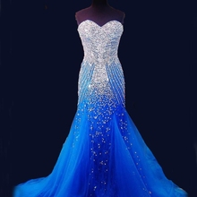 2020 Blue Mermaid Long Prom Dresses Pageant Women Sexy Sweet