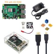 Ahududu Pi 4 Model B 4G Kiti + 5V 3A Güç Adaptörü + Akrilik Kılıf + Soğutma Fanı + HDMI Kablosu + Isı Emici + 16/32G SD Kart Isteğe Bağlı