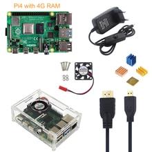 פטל Pi 4 דגם B 4G ערכת + 5V 3A כוח מתאם + אקריליק מקרה + קירור מאוורר + HMDI כבל + גוף קירור + 16/32G SD כרטיס אופציונלי