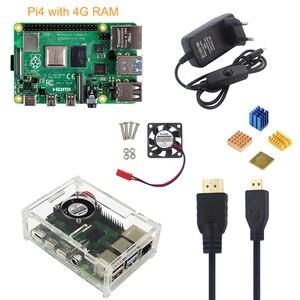 Image 1 - Raspberry Pi 4 Mẫu B 4G + 5V 3A Bộ Đổi Nguồn Điện + Tặng Vỏ Acrylic + Quạt Làm Mát + HMDI + Tản Nhiệt + 16/32G SD Card Tùy Chọn