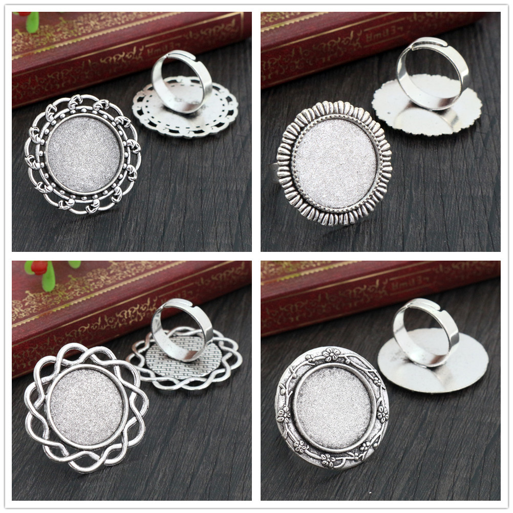20mm 5pcs 4 Style Antique Silver Plated Brass Adjustable Ring Settings Blank/Base,Fit 20mm Glass Cabochons,Buttons;Ring Bezels
