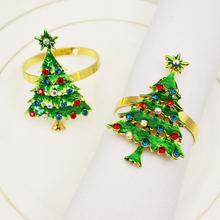 12 шт/лот пряжка для салфеток с рождественской зеленой елкой
