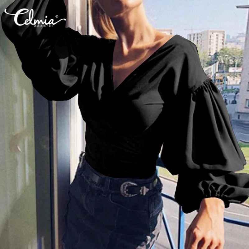 المتضخم تونك القمم النساء Celmia الصلبة فانوس كم مطوي قميص الصلبة مثير الخامس الرقبة بلوزة غير رسمية حجم كبير السيدات Blusas 5XL