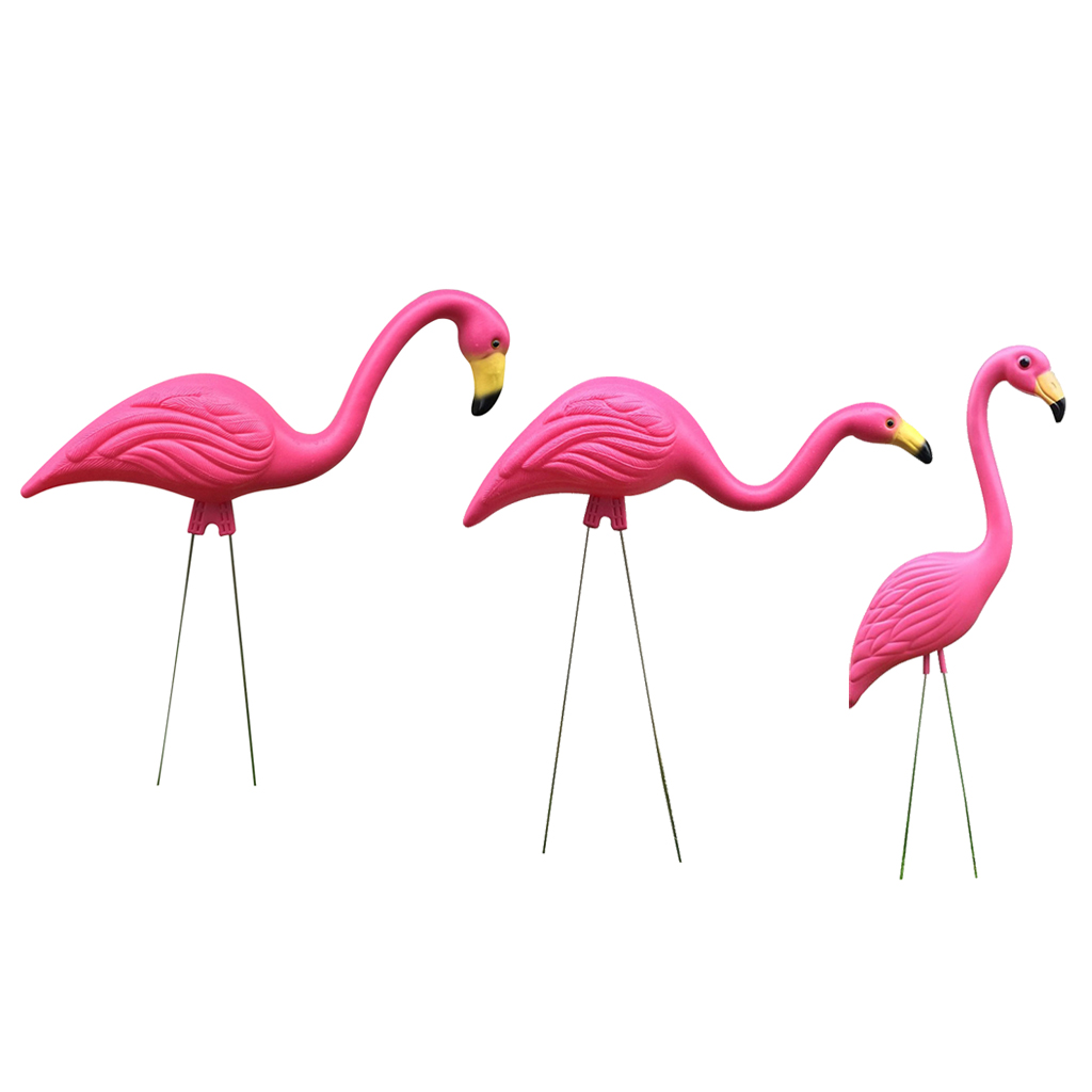 Pink Flamingo Figurines Yard Ornaments For Outdoor Garden Lawn Decorations