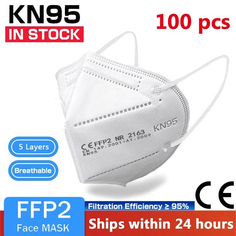 100 шт. ffp2 маска для лица KN95 маски для лица маска для макияжа FFP2mask kn95маска для защиты от пыли маски для вентиляции