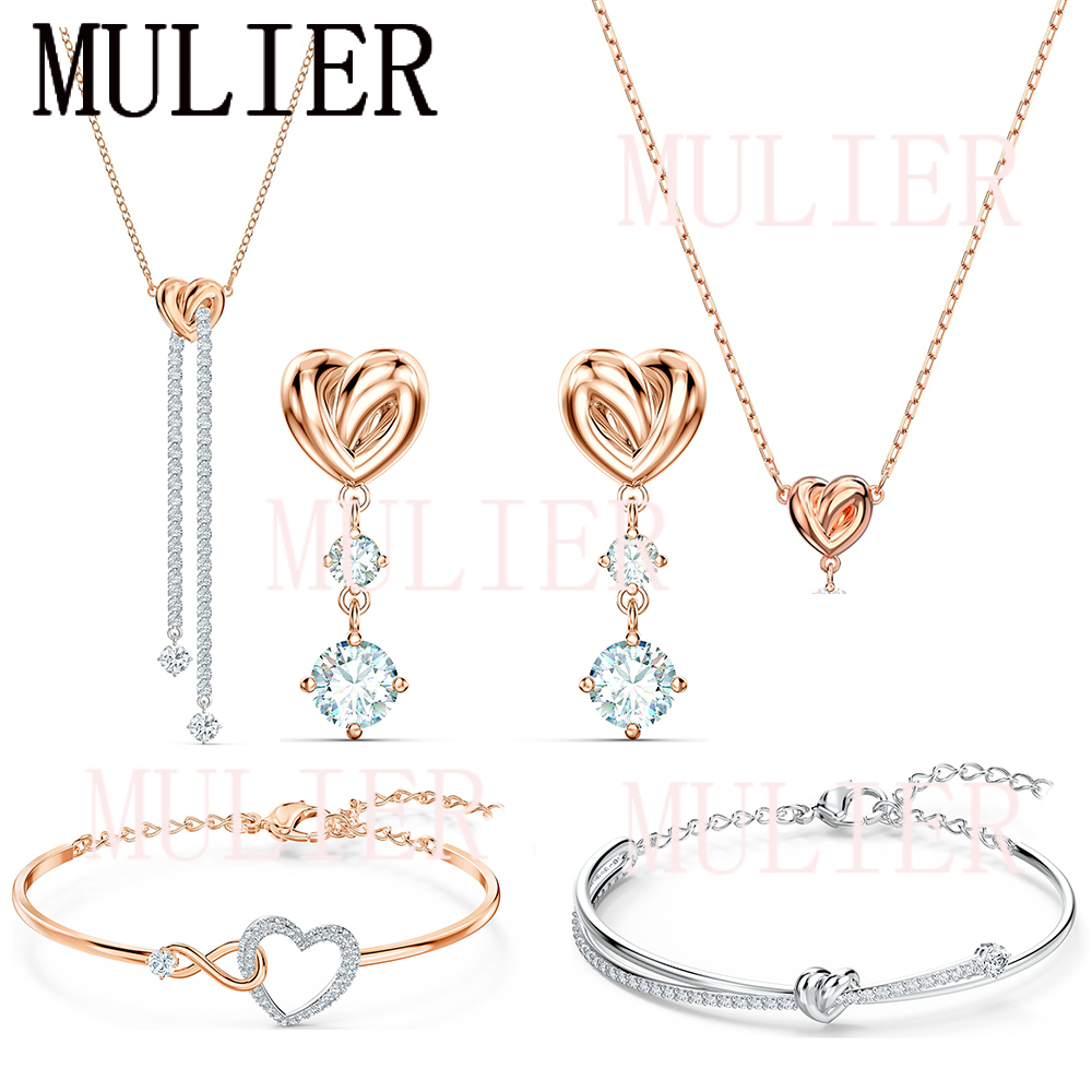 2020 SWA Fashion Exquisite New Shiny Heart Ladies Pendant Necklace Set Accessories Best Gift For Girlfriend Free Shipping