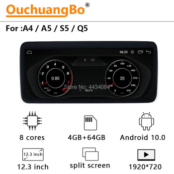 Ouchuangbo 12.3 Inch 4G Car GPS Radio Multimedia Stereo Android 10 Recorder For Audi A4 A5 Q5 With 8 Core 4GB 64GB 1920*720 image