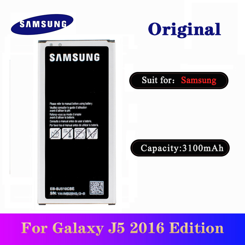 Battery EB-BJ510CBE For <font><b>Samsung</b></font> Galaxy <font><b>J5</b></font> 2016 Edition <font><b>J5</b></font> 2016 J510 J510FN J510F J510G Original High Quality <font><b>Bateria</b></font> 3100mAh image