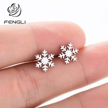 FENGLI Summer Cool Snowflake Stud Earrings Stainless Steel Delicate for Women Party Geometric Female oorbellen brincos