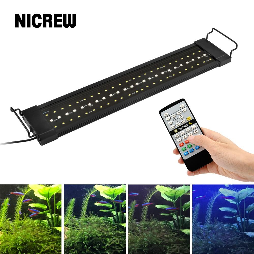 NICREW  32-74cm Planted Aquarium LED Lighting Lamp 110V-240V Automated Timer Dimmer Fish Tank Light For Aquarium