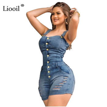 Liooil Hole Sexy Bodycon Short Jumpsuit Women Summer 2020 Spaghetti Strap Strapless Button Up Rompers Womens Jumpsuit Shorts 1