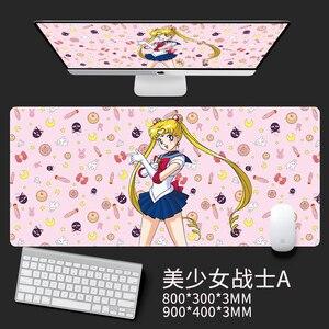 Image 4 - Anime cartão captor sakura sailor moon unicórnio figura de ação à prova dwaterproof água tapetes de mesa jogo computador portátil teclado tapete grande mouse
