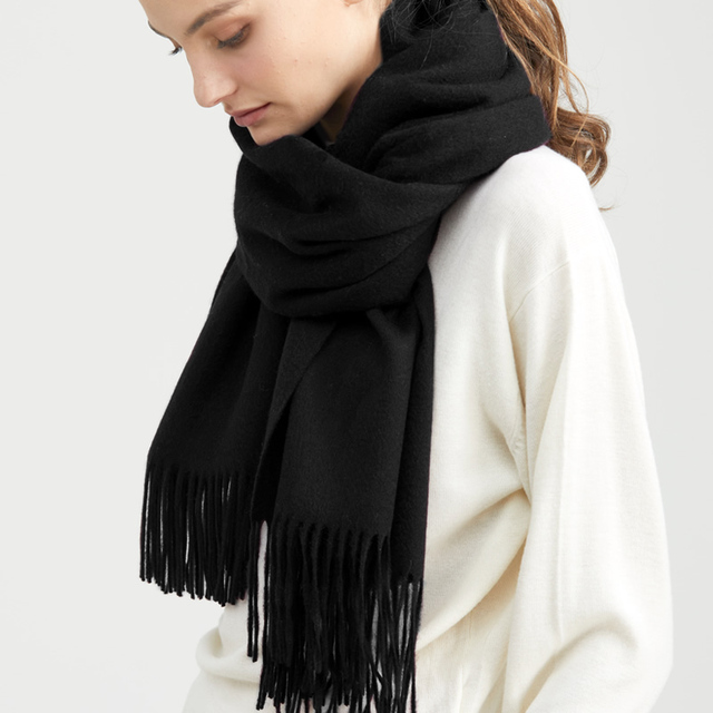 Solidlove 100% Wool Winter Scarf Women Scarves Adult Solid  Luxury Autumn Fashion Designer Scarf  Poncho Scarfs for Ladies Wrap 3