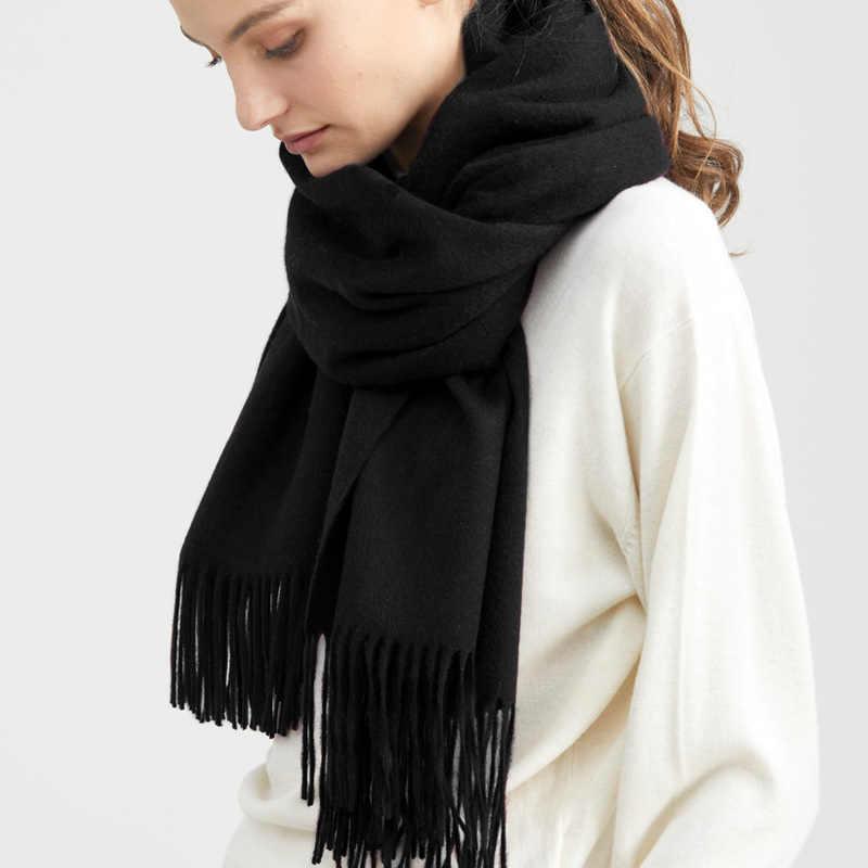 Solidlove 100% Wol Winter Sjaal Vrouwen Sjaals Volwassen Effen Luxe Herfst Fashion Designer Sjaal Poncho Sjaals voor Dames Wrap