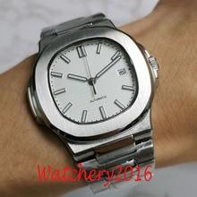 Bliger 40mm Miyota 8215 Luxury Square Automatic wrist watch men sapphire glass ss bracelet waterproof white dial