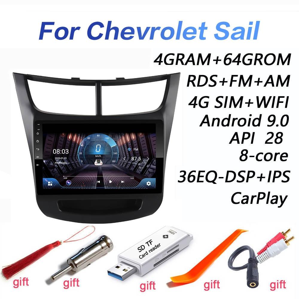 4G + 64G DSP 2 din Android 9,0 4G NET Car Radio мультимедийный видео плеер для Chevrolet Sail aveo 2015 2016 2017 2018 2019 carplay
