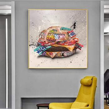 Fast Food Hamburger Graffiti płótno artystyczne obraz na ścianę plakat na płótnie Street Wall Art obraz na wystrój salonu tanie i dobre opinie Si Di Ke CN (pochodzenie) Wydruki na płótnie Pojedyncze PŁÓTNO akwarelowy abstrakcyjne bez ramki Nowoczesne Street Graffiti Art Canvas Poster