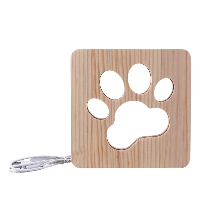 Wooden Lamp Light Kids Bedroom Decoration Warm Light Led Usb Night Light For Children'S Day Gift(Dog Paw)